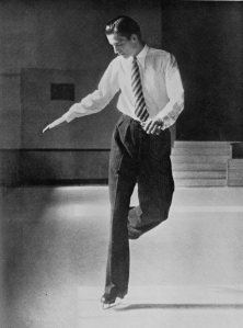 British skater Graham Sharp, 1939 world champion, practicing figures. If only we could all look this dapper on the ice. (Photo from the 1938 book Modern Figure Skating by T.D. Richardson.)