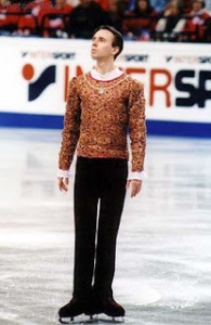 Dmitri Dmitrenko, a Ukrainian skater who competed internationally in the late 1990s, got around the problem of finding appropriate music by composing his own music for some of his programs. (credit: figureskatingcostumes.tumblr.com)
