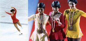 Dorothy Hamill skates at the 1976 Innsbruck Olympics.