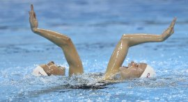 Members of the Canadian national synchronized swim team works out at the new aquatic centre in Scarborough.