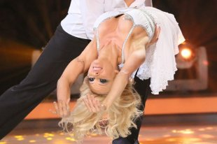 Pamela Anderson suffers a wardrobe malfunction on Dancing on Ice