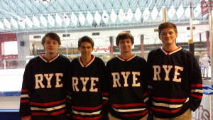 Some members of the Rye High School Hockey Team were at the re-opening of Playland Ice. Derek Mullane, Nathaniel Deen, Tommy O'Brien, and Theo Bresolin Photo by: Pamela Stern