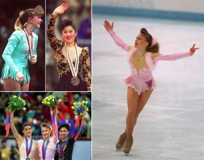 Various female figure skaters with puffy ponytails and teased bangs